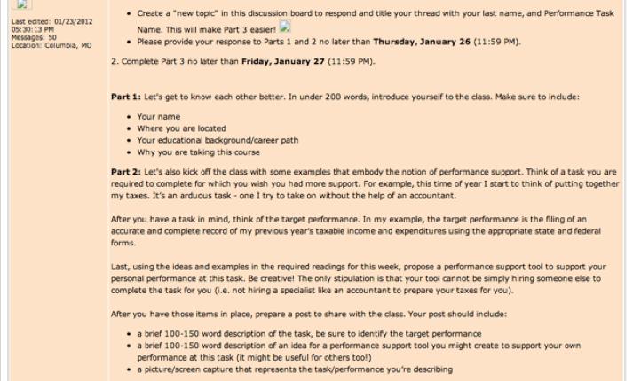 Discussion forum example