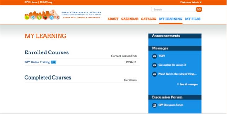 Cloud based LMS screenshot for San Francisco Department of Public Health