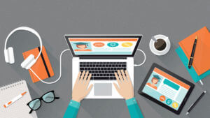 E-learning, education and university banner, student's desktop with laptop, books and hands, top view